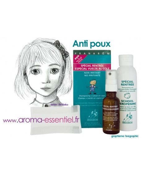 Spécial rentrée DUO (Aromapar) Shampoing+lotion+peigne, aux Huiles Essentielles de Pranarom