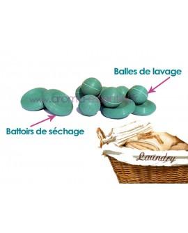 Balles et battoirs pour le lavage et séchage du linge, 6 + 4