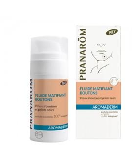 Fluide Bio matifiant boutons Aromaderm de Pranarom