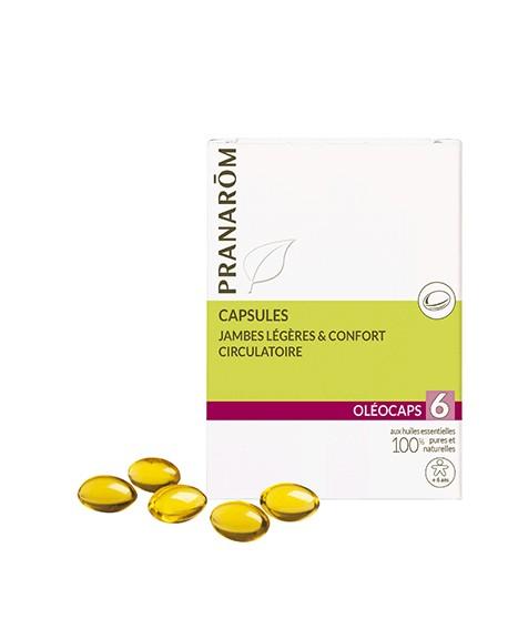 Jambes légères et Confort circulatoire Oléocaps 6 de Pranarom