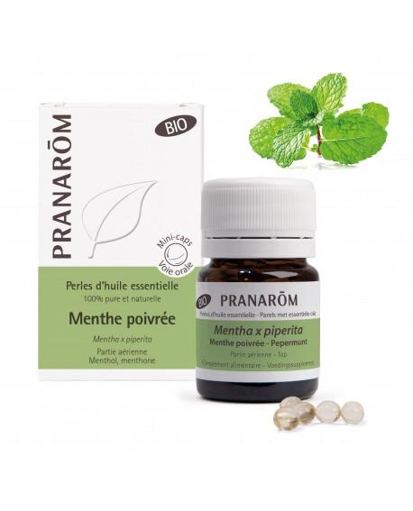 Menthe poivrée BIO, Perles d'huile essentielle de Pranarom