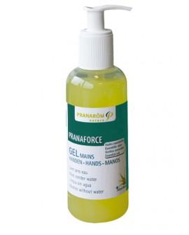 Gel mains désinfectant  Pranaforce, aux huiles essentielles et à l'aloe vera de Pranarom, 250ml