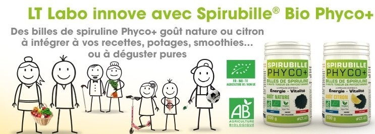 Spirubille BIO Phyco+ Goût Citron ou Nature de LT Labo