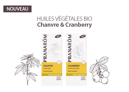 Huiles Végétales Bio de Pranarôm de CHANVRE et CRANBERRY